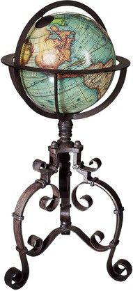 century baroque globe on wrought iron stand World Globe Map, Map Globe, World Globes, Desk Globe, Vintage Globe, Vintage Maps, Vintage Dolls, Rotating Globe, Décor Antique