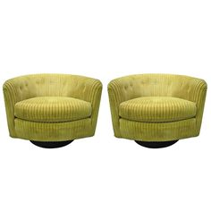 Wonderful Pair Milo Baughman style Swivel Barrel Back Tub Chairs Mid-century   From a unique collection of antique and modern lounge chairs at https://www.1stdibs.com/furniture/seating/lounge-chairs/
