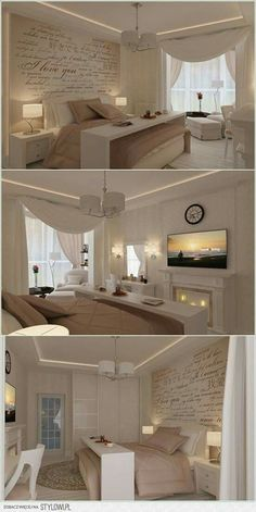 Love the wall and table over the bed