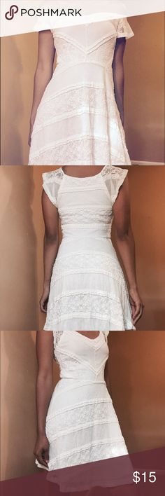 Lace white dress Perfect condition white dress with very pretty lace detail !! Charlotte Russe Dresses Mini