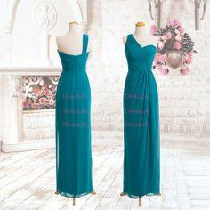 One Shoulder Chiffon Bridesmaid Dresses/Long by DressLife on Etsy
