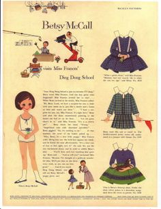 Betsy McCall* For lots of free paper dolls International Paper Doll Society #ArielleGabriel #ArtrA thanks to Pinterest paper doll collectors for sharing *