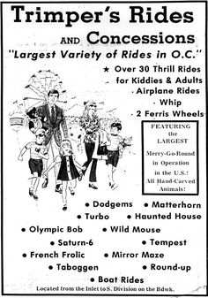 Ocean City 1970s ad for Trimper's Rides on the boardwalk