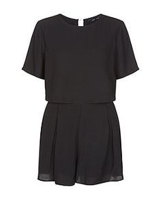 Black Layered Pleat Front Playsuit  | New Look