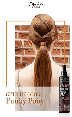 We're all about the funky ponytail this fall! Get the look with Blow Dry It Quick Dry Primer Spray; it cuts dry time and acts as a heat protectant for hair.