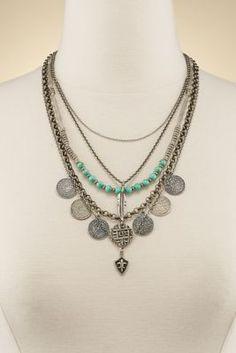 Roxanne Necklace - Turquoise Layered Necklace, Fleur De Lis Necklace   Soft Surroundings