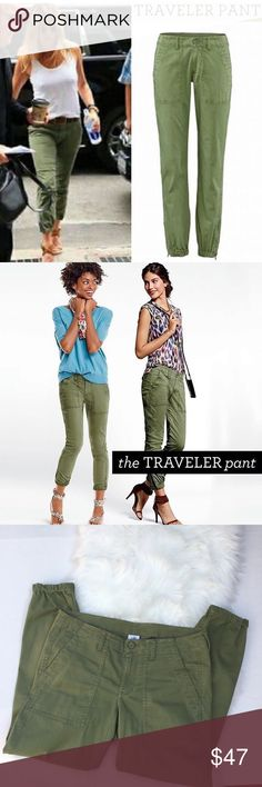 """CAbi Traveler Pant Crop Style #5076 Olive Size 8 CAbi Traveler Pants in women's size 8. Cropped cargo chino pant in Army green with front patch pockets, and back flap pockets. Elastic ankle with zipper. Stretch cotton spandex blend. Measures approx 17"""" flat across the waist, 22"""" hips, 9"""" rise, 27"""" inseam, 6"""" ankle. Excellent condition. These have been photographed on numerous celebrities. Super soft and comfy cult classic. CAbi Pants Ankle & Cropped"""