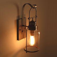 Rustic Metal Lantern Shade Vintage Industrial Wall Lights Glass DIY Sconce Decor