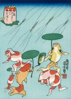 Utagawa Kuniyoshi (Japanese Ukiyo-e Printmaker, ca.1797-1861) / Niwaka Amenbou, from the series Goldfish (Kingyo Tsukushi)