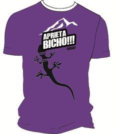 Camiseta técnica morada aprieta bicho salamandra para escaladores. #escaladores #bloqueros #camisetas #tees