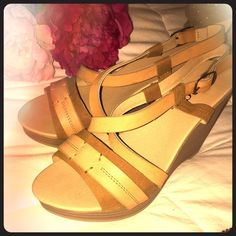 "TAN STRAPPY WEDGE SANDALS Super cute tan wedges! Strappy, comfy, and perfect for summer! Size 6. 3 1/2"" heel. Adjustable closure. Worn once! Shoes Sandals"