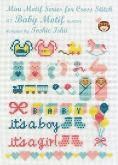 Designer Toshie Ishii has developed this adorable series of cross stitch charts.,Designer Toshie Ishii has developed this adorable series of cross stitch charts. The package includes a full-color, fold out pattern sheet with instru. Tiny Cross Stitch, Baby Cross Stitch Patterns, Cross Stitch Charts, Cross Stitching, Cross Stitch Embroidery, Embroidery Patterns, Hand Embroidery, Baby Motiv, Patterned Sheets