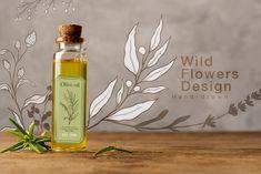 Botanical Illustration Black And White, Transparent Design, Photoshop Design, Romantic Flowers, Vintage Flowers, Line Art, Wild Flowers, Hand Drawn, Flower Arrangements
