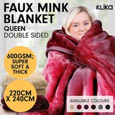 MINK BLANKET DOUBLE SIDED QUEEN SIZE SOFT PLUSH BED FAUX THROW RUG 220 x 240cm  | eBay Queen Size Bedding, Throw Rugs, Mink, Plush, Blanket, Ebay, Bedroom, Bedrooms, Rug