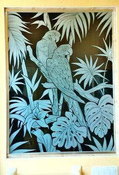 parrot glass shower door | Showers | Etched Shower Glass | Etched Glass | Etched Glass Design ...