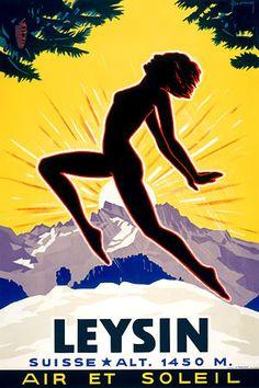 Leysin, Switzerland  c.1934   http://www.vintagevenus.com.au/products/vintage_poster_print-tv270