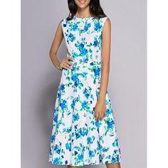Trendy Sleeveless Round Neck Floral Print Women's Dress