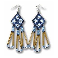Blue Beaded Diamond Pattern Native American Indian Earrings