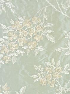 Wisteria Silk Embroidered Fabric A Pale Aqua With Climbing Fl Print In
