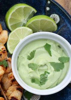 Creamy Avocado Sauce - perfect for dipping, drizzling, dunking, and serving with all of your favorite foods! recipe by Barefeet In The Kitchen