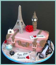 Vintage Travel Cake – I LOVE Europe This was one of my bucket list cakes…I loved making this one…I had made so many other elements but decided not to put them on so that the cake was not crowded. The Eiffel is one that I had made earlier – it is. Pretty Cakes, Cute Cakes, Beautiful Cakes, Amazing Cakes, Paris Birthday Cakes, 30 Birthday, Birthday Ideas, Bolo Paris, Suitcase Cake