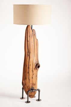 Driftwood floor lamp featuring custom industrial by NorthernDrift