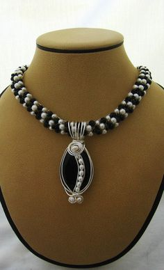 Crocheted and Wire Wrapped with Black Agate and White Fresh Water Pearl Beads