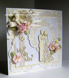 Wedding Day Card using dies from Creative Expressions / Sue Wilson, Frames & Tags Collection - Maggie, Camellia Complete Petals - Leaves, The Happy Couple, Mr & Mrs and the Wild Roses Embossing Folder.