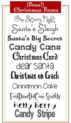 Free Christmas Fonts!  You need to go to sites like dafont.com or other free font sites.  Make sure you are on a valid site so that you don't download a virus.