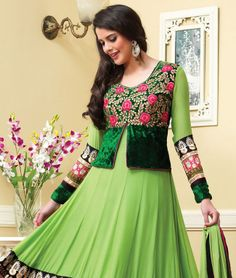 Surrender your soul to the exotic union of today and tomorrow in this beautiful attire. Flushed with vibrant colours and eclectic designs, you will be ready to face the spotlight as you glide by in this absolutely elegant piece accenting the gorgeous feeling. It's time for you to be the centre of attention once again.BRAND: BrijrajCATEGORY: Unstitched Suit with DupattaARTICLECOLOURMATERIALLENGTHTopGreenVelvet with Georgette3.00 metersBottomGreenShantoon2.25 metersDupattaGreenChiffon2.50 met…