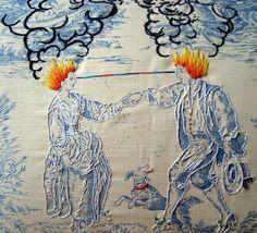 Embroidered toile by Richard Saja