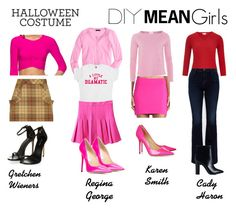 """Mean Girls DIY Costume"" by lavalledanika ❤ liked on Polyvore featuring Susana Monaco, J.Crew, American Vintage, CC, Jimmy Choo, Freddy, J Brand, Nly Shoes and diycostume"