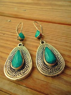 Turkmen Kazakh Tribal Jewelry Earrings in Turquoise  Gilded Silver.Afghan Turquoise Jewelry.Boho- Nomadic Turquoise Earring.Silver Turquoise...