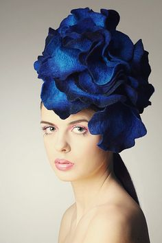 Bright Blue Rose fascinator hat with merino wool, silk fibers and chiffon silk.