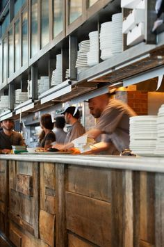 2011 RESTAURANT DESIGN TRENDS | Hatch Interior Design  Expo awesome. Wood, pass height, plate display, ticket system. Clean lines with comfort and logistics worked out.
