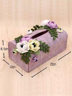 Online Shop New Arrived Napkin Papers Case Handmade Felt Box Purple Color Flower Style Paper Towel Boxes Felt DIY Package Felt Diy, Handmade Felt, Felt Crafts, Diy And Crafts, Paper Crafts, Tissue Box Covers, Tissue Boxes, Purple Colour Flowers, Paper Case