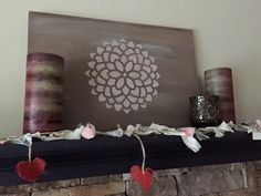 Sally Azzato uses New colors Mud puddle and Tea rose. Board also glazed with grunge and white wash. Dixie Belle Paint. #stenciling #stencils #chalkpaint #glazing