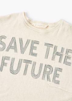 Mango Organic Cotton Message T-Shirt - Boys Mens Tee Shirts, Shirts For Girls, Graphic Shirts, Printed Shirts, Message T Shirts, Baby Girl Items, Kids Graphics, Mens Fashion Wear, Organic Cotton T Shirts