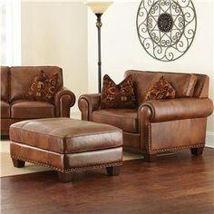 Steve Silver Silverado Chair and a Half with Ottoman and Nailhead Trim - Conlin's Furniture - Chair & Ottoman