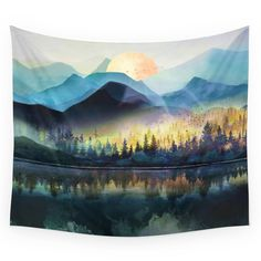 Mountain Lake Under Sunrise Wall Hanging Tapestry by Nadja - Small: x Bohemian Wall Tapestry, Tapestry Nature, Tapestry Wall Hanging, Wall Tapestries, Hippie Tapestries, Society 6 Tapestry, Custom Wall, Vivid Colors, Rich Colors