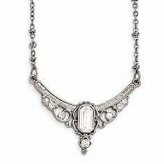 "NEW LADIES DOWNTON ABBEY LADIES SILVERTONE CLEAR CRYSTAL NECKLACE 16""-19"" #DOWNTONABBEY"
