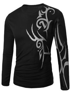 Long Sleeve Round Neck Abstract Pattern T-Shirt - BLACK 2XL