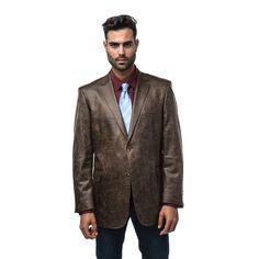 Verno Bellante Men's Dark Faux Classic Fit Sports Coat