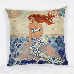 Sweet Linen Mermaid Pattern Decorative Pillowcase (Without Pillow Inner)