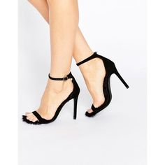 Public Desire Diana Furry Barely There Heeled Sandals (€16) via Polyvore featuring shoes, sandals, black, strappy high heel sandals, strappy sandals, pom pom sandals, black strap sandals and black gladiator sandals