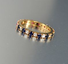 Vintage Gold Ruby Sapphire Band Eternity Ring Size 5.75 CZ Gemstone Ring Engagement RIng