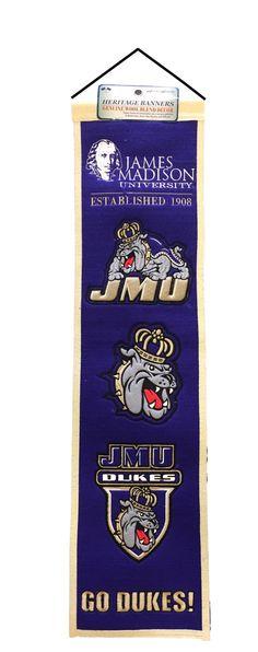 James Madison JMU... http://www.757sc.com/products/james-madison-jmu-dukes-heritage-banner-8x32-wool-embroidered?utm_campaign=social_autopilot&utm_source=pin&utm_medium=pin #nfl #mlb #nba #nhl #ncaaa #757sc