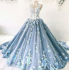 Dusty Blue Tulle Long Applique Evening Dresses, Custom Size Formal Prom Gown Dusty Blue Tulle Long A Long Prom Gowns, Prom Dresses Blue, Ball Dresses, Formal Dresses, Formal Prom, Elegant Dresses, Dresses Dresses, Dress Prom, Long Dresses