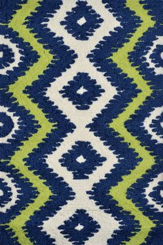 The Rug Market America - The Rug Market America Pop Accents Ziggy Navy-Green-White Area Rug #101457