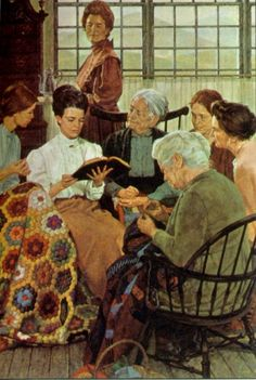"From Chapter 14: At the Sewing Circle at Miss Alice's cabin ~ Illustration by Howard Sanden ~ ""While the women worked on their quilt pieces and Miss Alice cleared away the rest of the dishes, I started to read at the place she pointed out"""